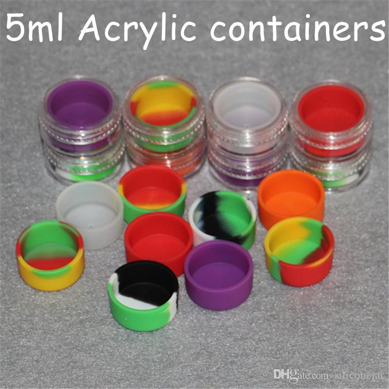 i contenitori all'ingrosso della cera del dab del contenitore del silicone dei contenitori acrilici della cera 5ml, contenitori di olio di vetro del barattolo del dab del silicone di plastica libera il trasporto