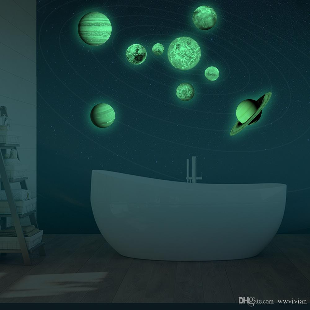Glow In The Dark Nine Planets Wall Stickers Kids Room Nursery