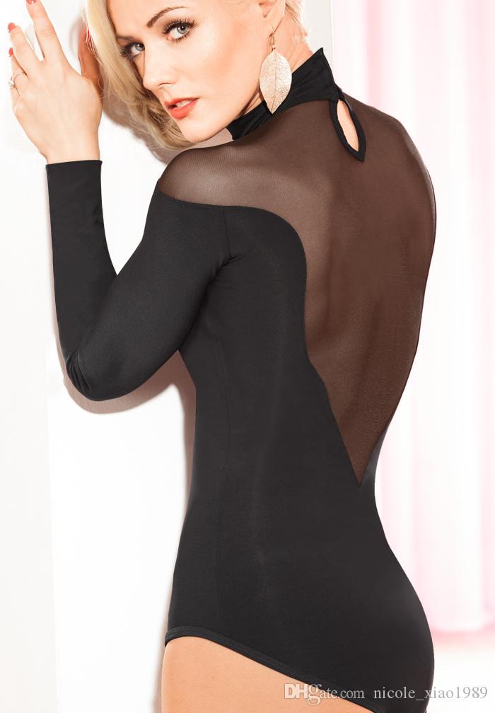 Modern Ballroom gauze Long sleeve Sexy Latin dance top bodysuit for female/women, Costume practice top performance wear