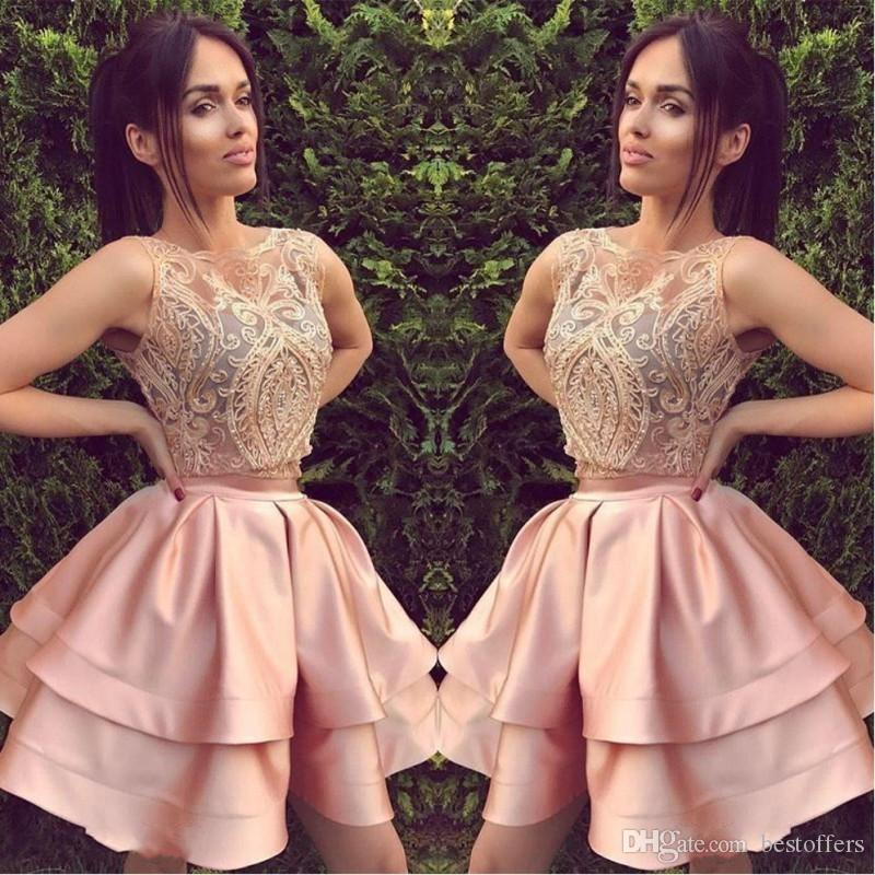 2018 Short Blush Pink Two Piece Homecoming Dresses Una linea senza maniche Backless Mini abito da cocktail Prom Party Gowns Custom Lace