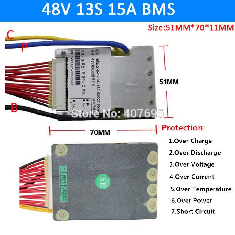 48V 13S 15A BMS