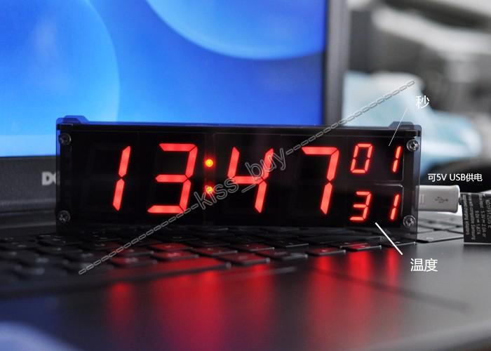"Freeshipping 1.2 ""DS3231 ساعة رقمية وحدة الصمام الوقت على مدار الساعة الإلكترونية مع عرض درجة الحرارة التنبيه + حالة العاصمة 12v 24v وظيفة ذاكرة السيارة"