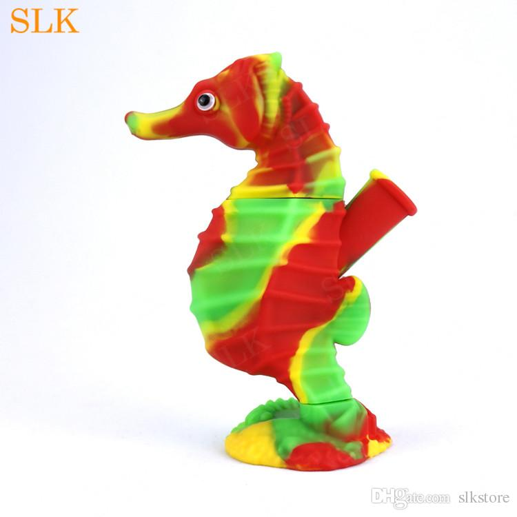Unique seahorse silicone smoking pipes with glass bowl dry herb hand pipe silicone bong cool design glass water bong oil rigs