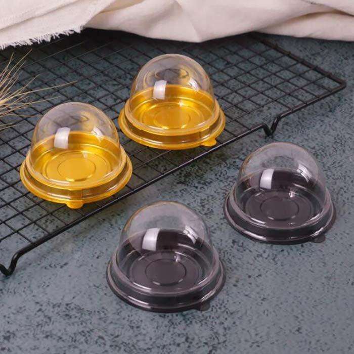 100pcs=50sets Mini Size Plastic Cupcake Cake Dome Favor Boxes Container Cake Box Wedding Favors Boxes Supplies
