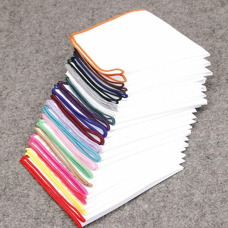 Kr795 -806 20 Renkler Erkekler S% 100 Pamuk Cep Kare Beyaz Katı Mendil Göğüs Havlu Balo Tatil Parti Suit Hankins 23 * 23cm 10pcs