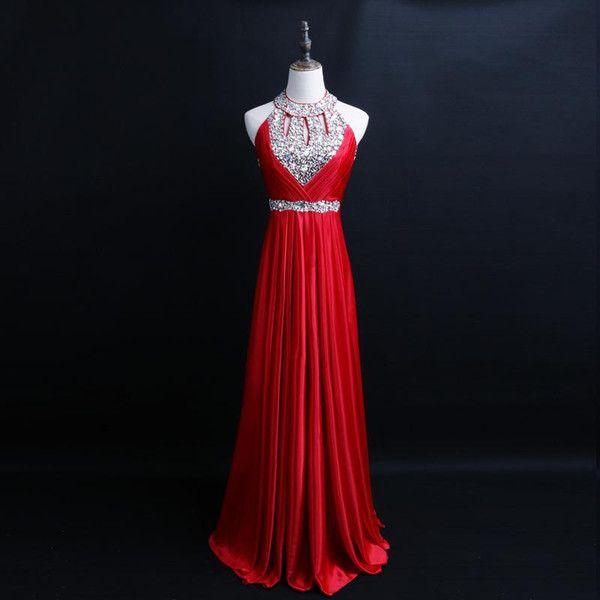 Sarawedding satin formelle robe de soirée 2020 perlée Halter manches longues col des robes de bal parole longueur robe de soirée