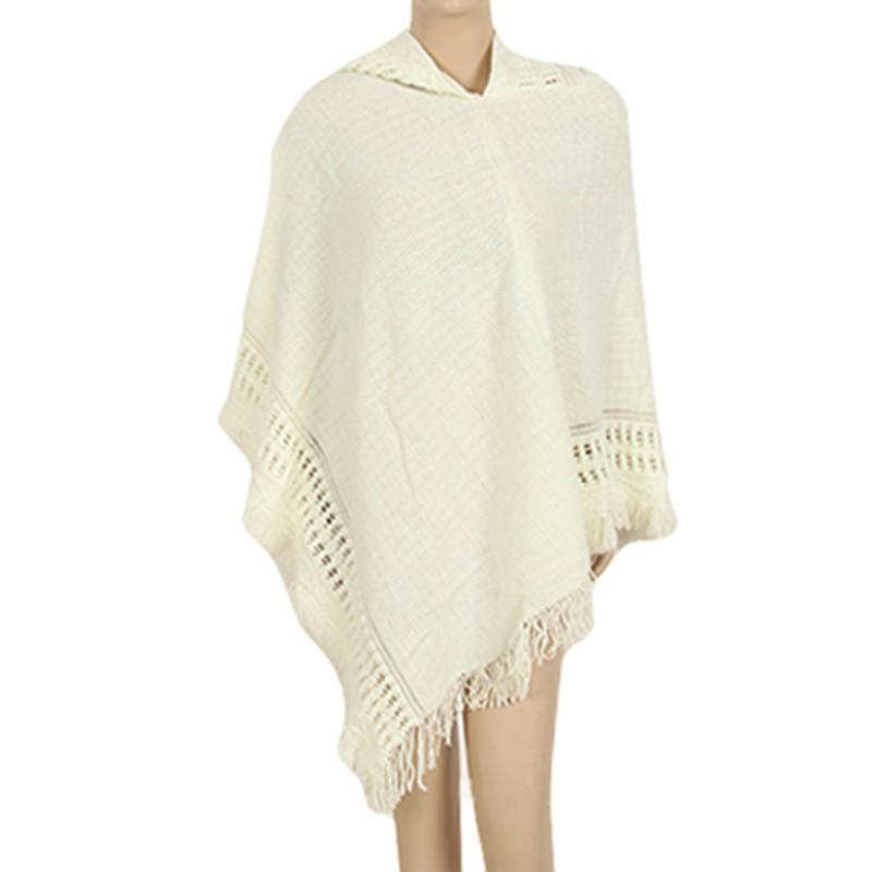 2017 Warm Autumn Winter Scarves Hollow Out Tassel Women Fashion Hood Poncho Scarves Casual Solid Female Irregular Outwear W1