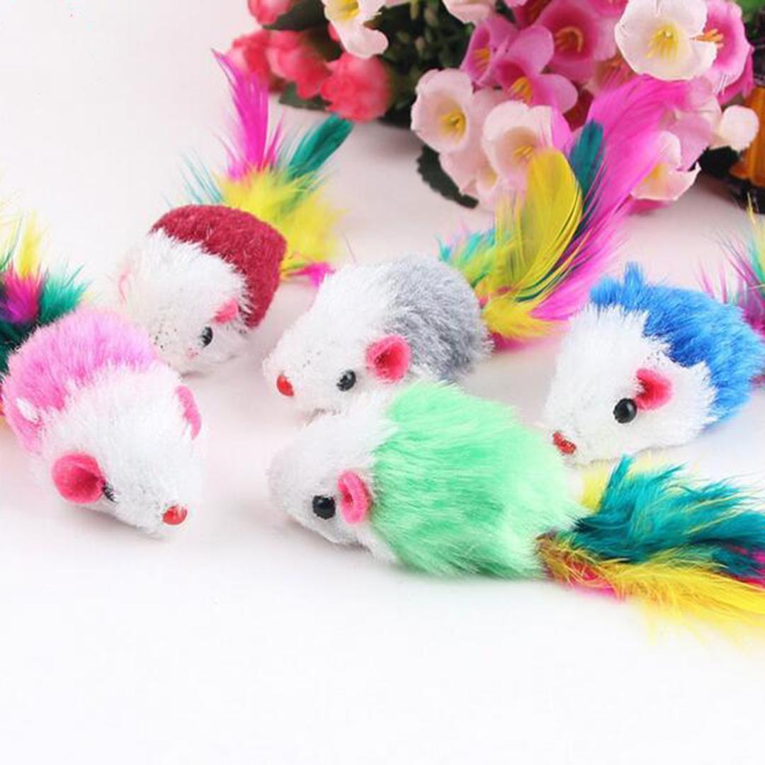 10 pcs engraçado macio fleece falso rato gato brinquedos penas coloridas jogando gatinho brinquedo cor aleatória