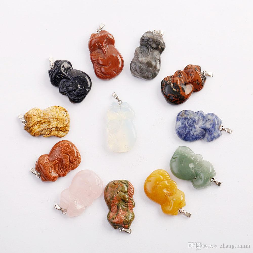 Venta al por mayor de los encantos de piedra natural tallados a mano talla de zorro colgantes de perlas para el collar de la joyería colgante shiping libre