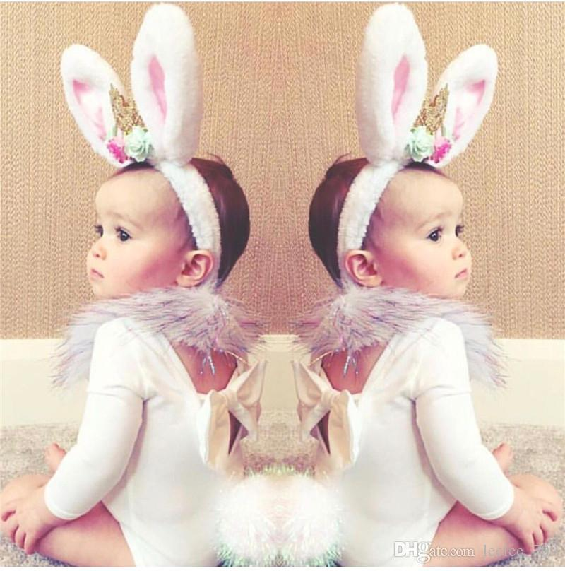 new rabbit ears baby headbands girls crowns artificial flowers hair accessories children bunny hairbands birthday party supplies photo props