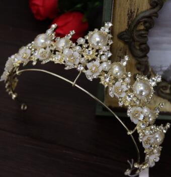Crown Crystal Pearl Wedding Dress hoop bride jewelry headwear studio accessories
