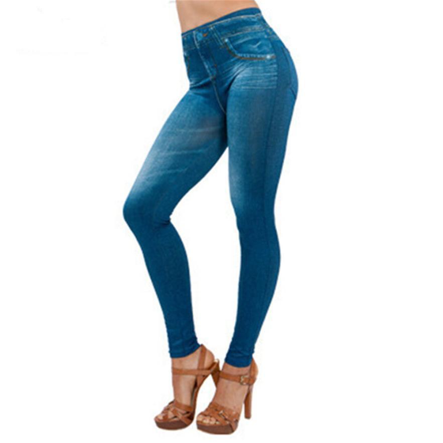 Pantalones vaqueros de nuevo de las mujeres Pantalones vaqueros de bolsillo polainas delgadas de fitness más el tamaño de los pantalones vaqueros Longitud Leggins al por mayor y envío de la gota