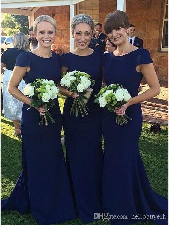 네이비 블루 긴 인어 신부 들러리 드레스 캡 슬리브 간단한 디자인 2018 댄스 파티 드레스