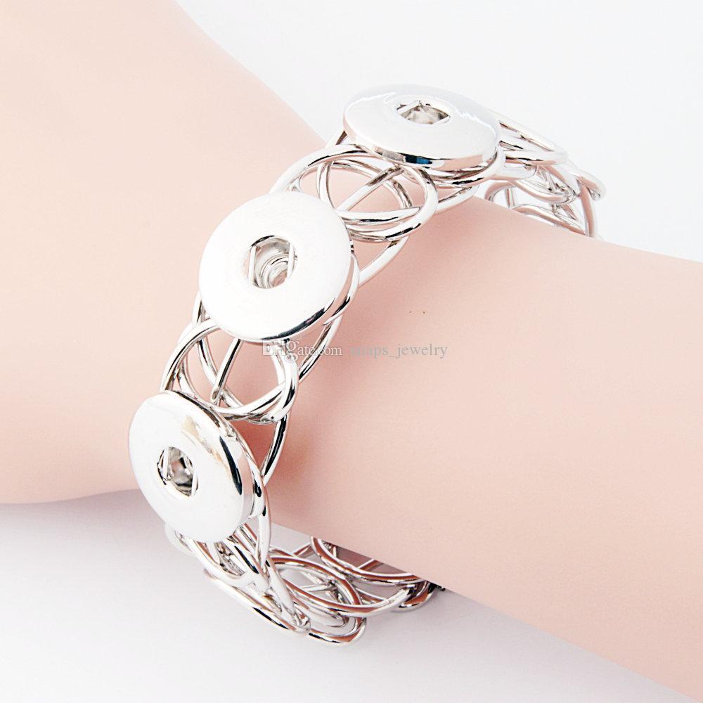 Druckknopf Schmuck Silber Gold Farbe Druckknopf Armband für Frauen öffnen Manschette Erklärung Armband Snap Schmuck