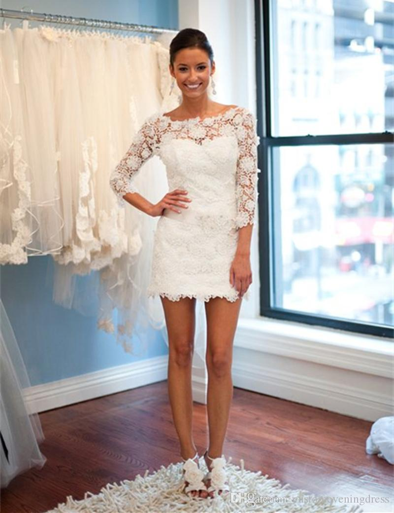 The most beautiful lace applique neckline mini short wedding dress lovely lace wedding dress 2018 sleeves beach wedding dress
