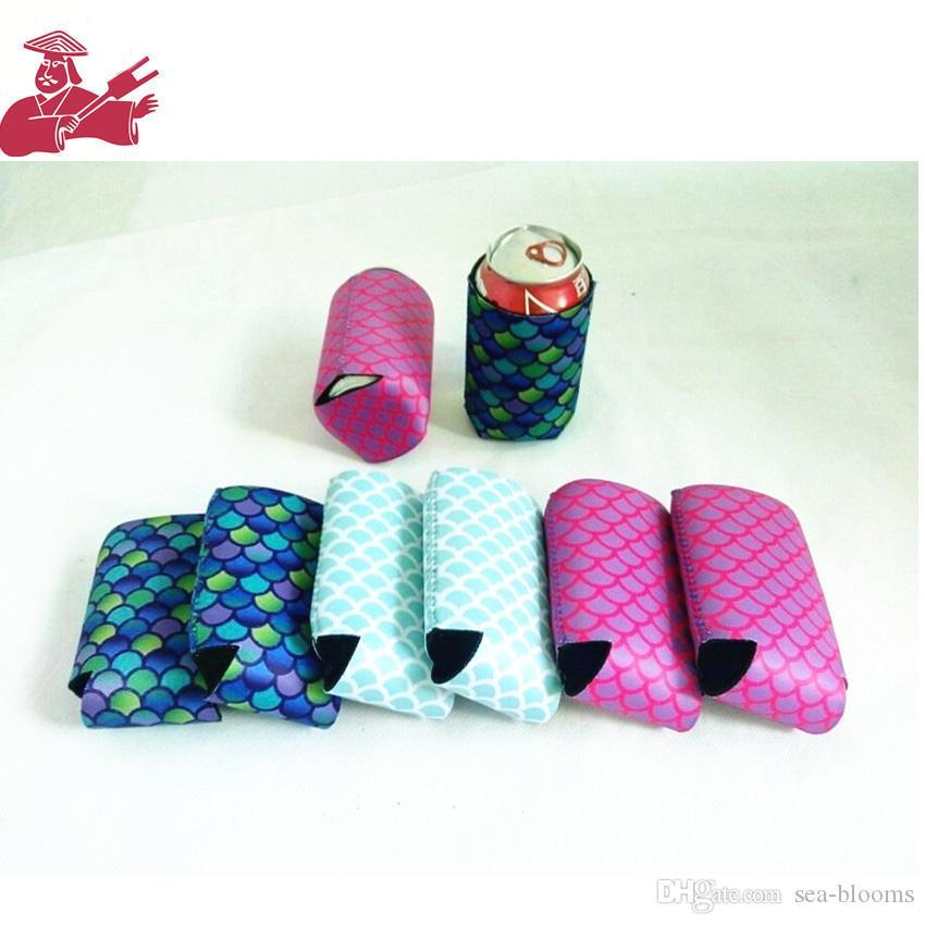 13 * 10 cm sirène peut manches peut refroidisseurs de boissons en néoprène avec la bière de fond couvre les ensembles de couverture couleur aléatoire Envoyer H769Q