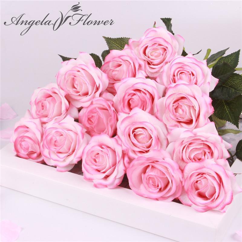 15 PC / porción de seda rosa del tacto verdadero artificial flores artificiales boda de la flor magníficos para regalo la decoración del partido del hogar de San Valentín
