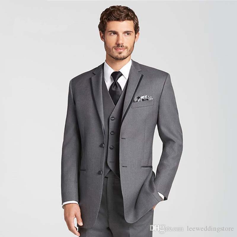 Mężczyźni Garnitury Gray Wedding Garnitury Oblubienica Custom Made Business Slim Fit Fashion Formalne Tuxedo Groom Nosić Best Man Blazer Prom Kurtka + Pant + Kamizelka