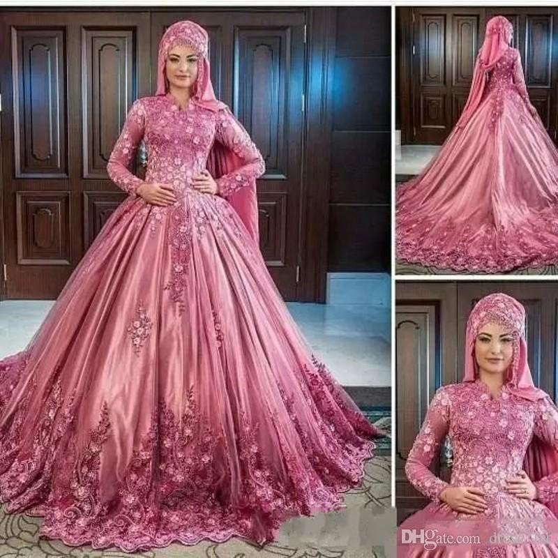 Stunning Muslim Long Sleeve Wedding Dresses 2018 Modest High Neck A Line 3D Floral Lace and Tulle Rose Pink Luxury Arabic Wedding Gowns