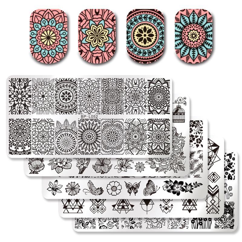 vente en gros 5pcs 12 * 6cm rectangle nail art modèle de timbre floral géométrie fleur conception de papillon image pour l'estampage de vernis à ongles