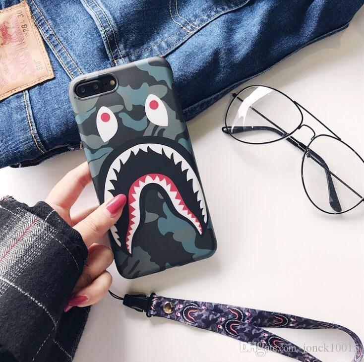 Gezeitenmarke tarnt Haifischmund für iphone XS MAX Handyoberteil iPhone8 Mattpaare 6s / 7 kreatives Abzugsleine TPU 4g lte Telefon