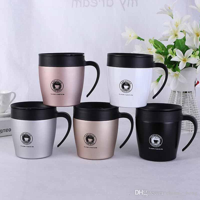 Новейшие 12 унций кофейные кружки изолированные 350 мл кружка из нержавеющей стали с ручкой и крышками офис чашки воды BPA бесплатно DHL бесплатно