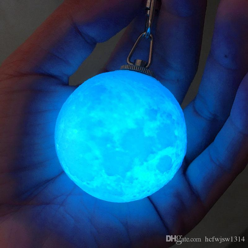 Mini 3D Print Moon Lamp 4cm LED Night Lights Novelty Moon Lamps Keychain Button Battery Powered Key Holder Bag Pendant Baby Gift
