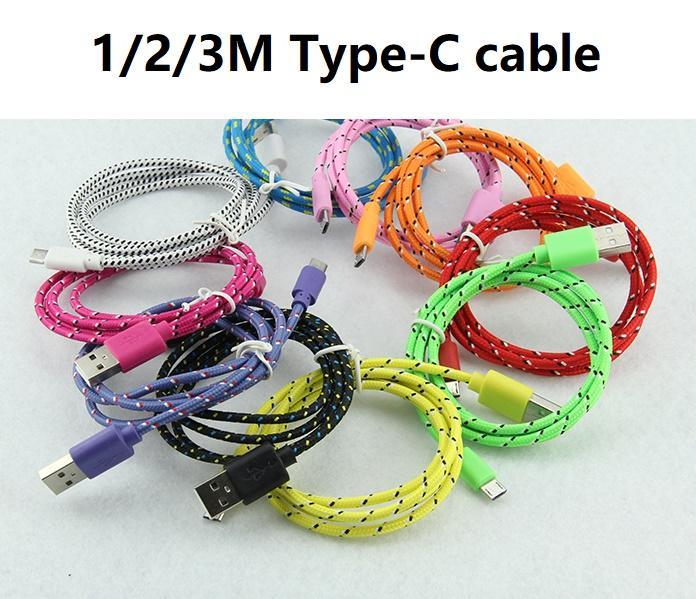 1M 2M 3M novo tecido colorido Nylon trançado tipo C USB C Cable para Samsung Para Blackberry para HTC pano trançado 100pcs cabo / lot