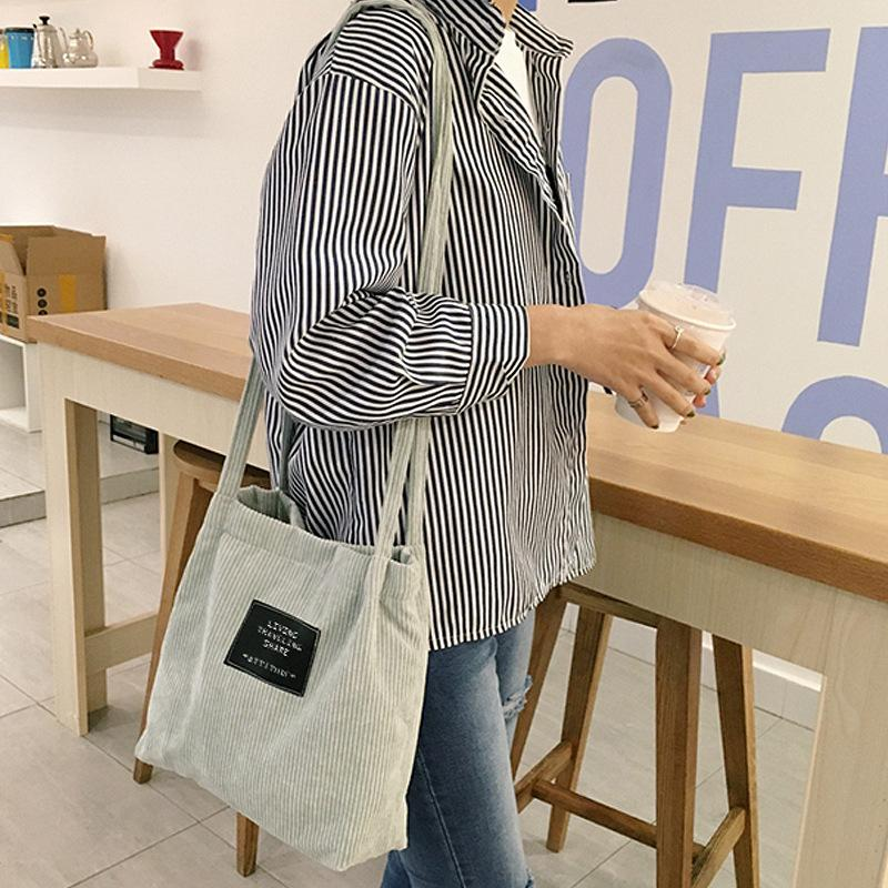 exceptional range of colors large assortment new high quality 2018 Ladies Duty Canvas Tote Bag Handmade Cotton Shopping School Travel  Women Folding Long Shoulder Strap Shopping Bags Women Bags Store Wholesale  ...