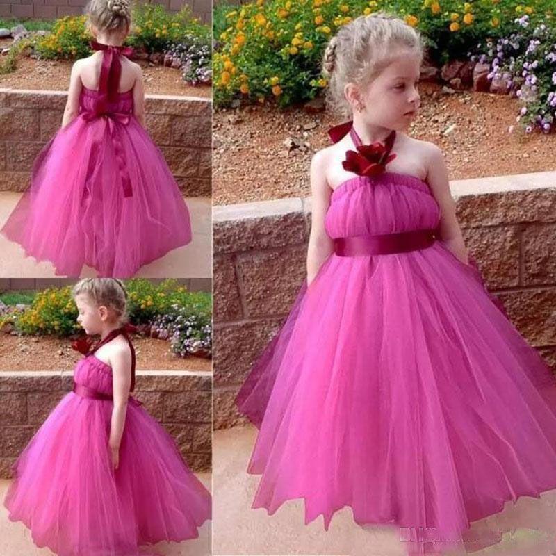 Lindo fucsia de tul princesa vestidos de niña de las flores para bodas con cabestro flores hechas a mano Sash Girls desfile de vestidos de fiesta