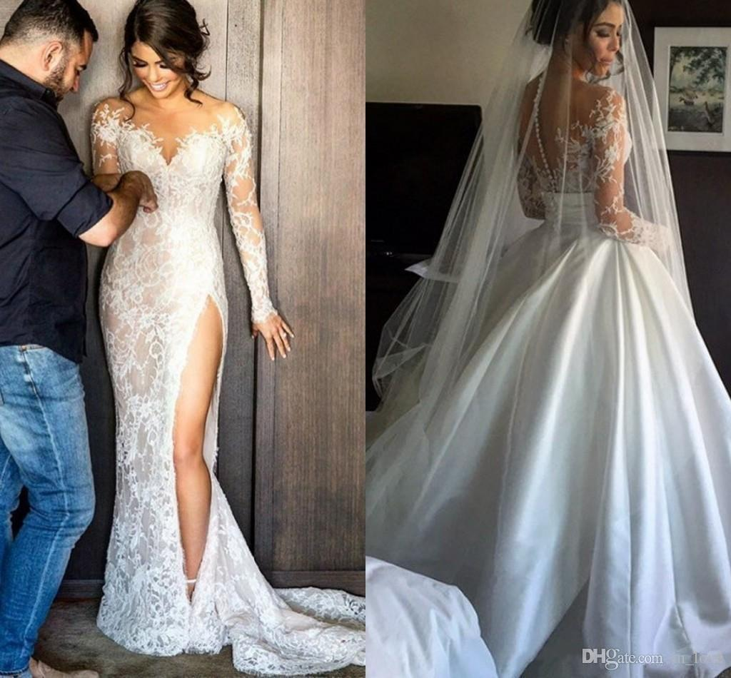 Detachable Skirt Wedding Dress Long Sleeve Sheer Neck Side Split Lace Satin Ball Gown Luxury Bridal Gowns Custom Size The Perfect Wedding Dress The Wedding Dress Shop From In Love 137 77 Dhgate Com