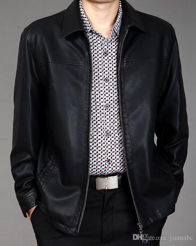 2019 Lederjacke Männer echte Kleidung lässig Leder Herren Umlegekragen mittellange Lederkleidung Jacke