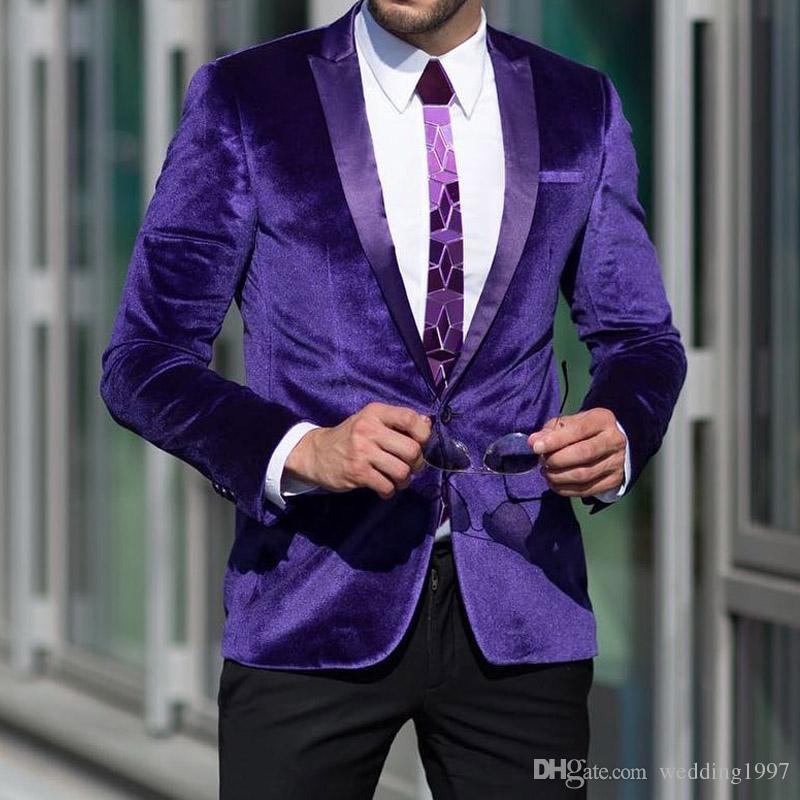 Slim Fit Mor Kadife Erkekler Blazer Düğün Smokin giyisi 2018 Yaka Son Style Erkek Giyim İki Adet Ceket Pantolon Peaked