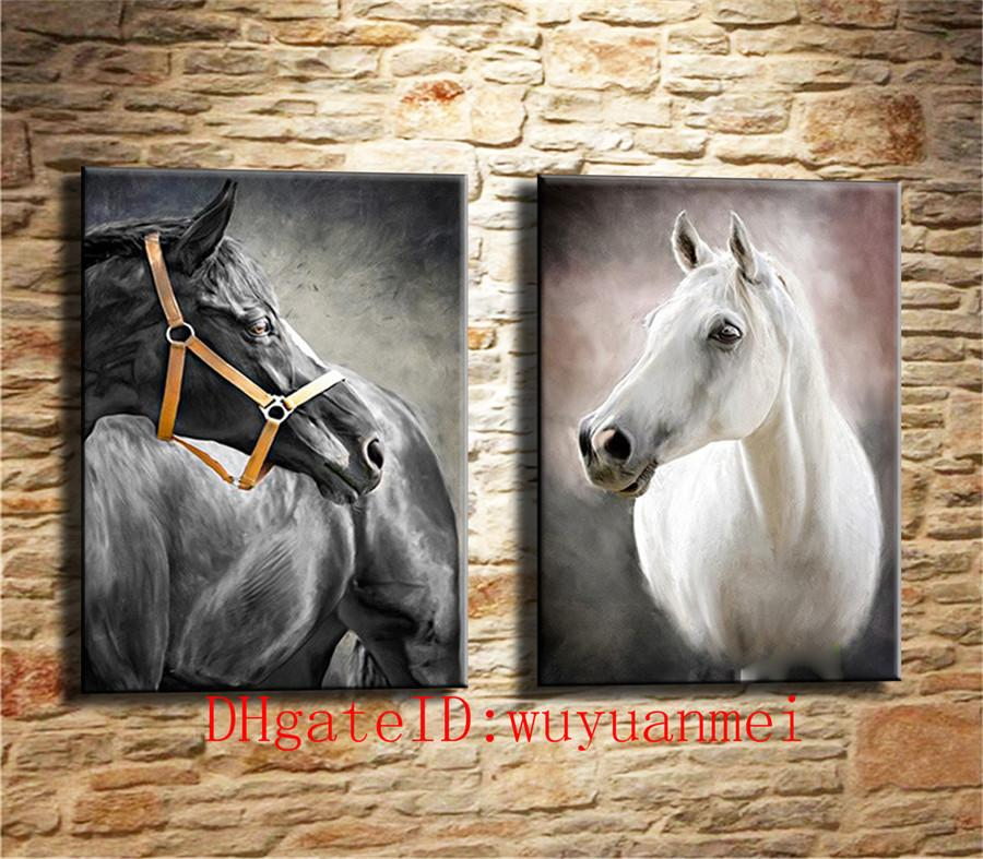 Black and white horse , 2 Pieces Home Decor HD Printed Modern Art Painting on Canvas (Unframed/Framed)