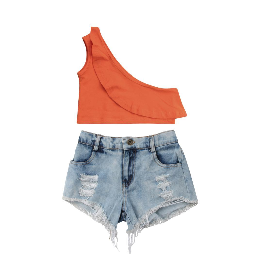 2018 New Brand Sleeveless Cotton Solid Kids Baby Girls Off Shoulder Tops Shorts Pants Outfits Set Summer 1-6 T