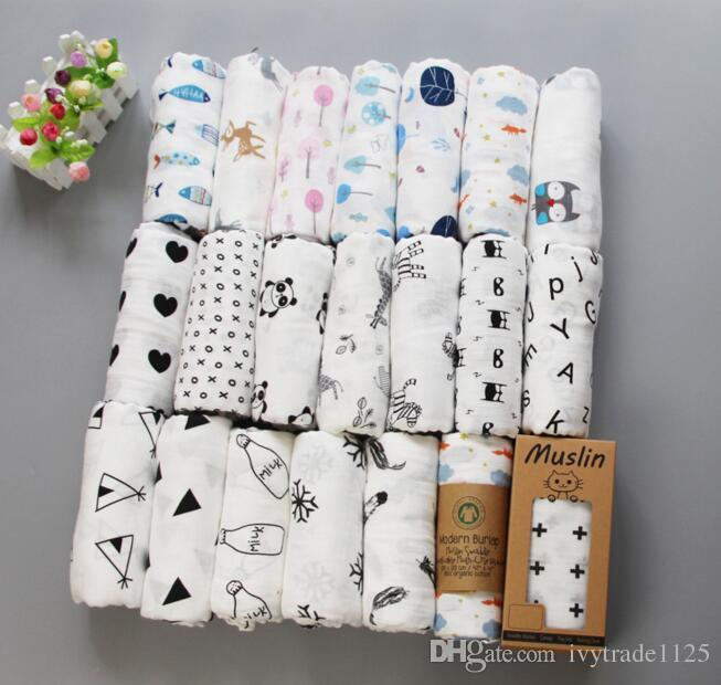 62 Arten Baby Muslin Swaddles 100% Baumwolldecken Kinderzimmer Bettwäsche Neugeborenen Swading Badetücher 122x122cm
