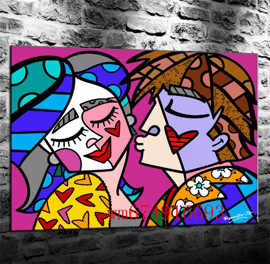 Romero Britto Happy Kiss , Canvas Pieces Home Decor HD Printed Modern Art Painting on Canvas (Unframed/Framed)