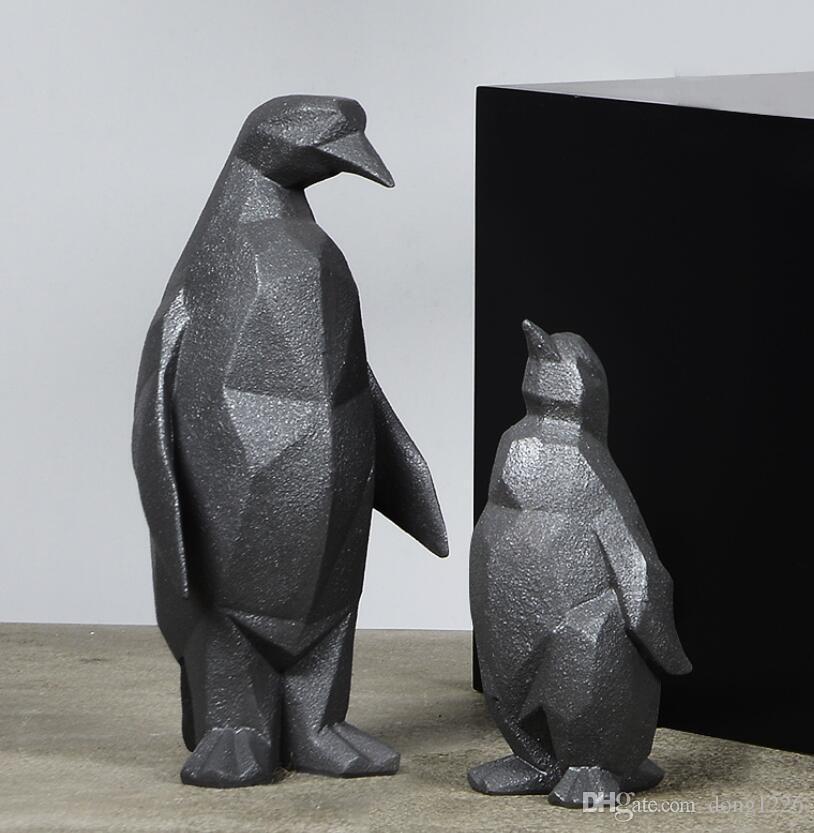 Résine noire géométrie abstraite pingouin figurines décoration de la maison artisanat chambre décoration objets vintage ornement résine figurine animale