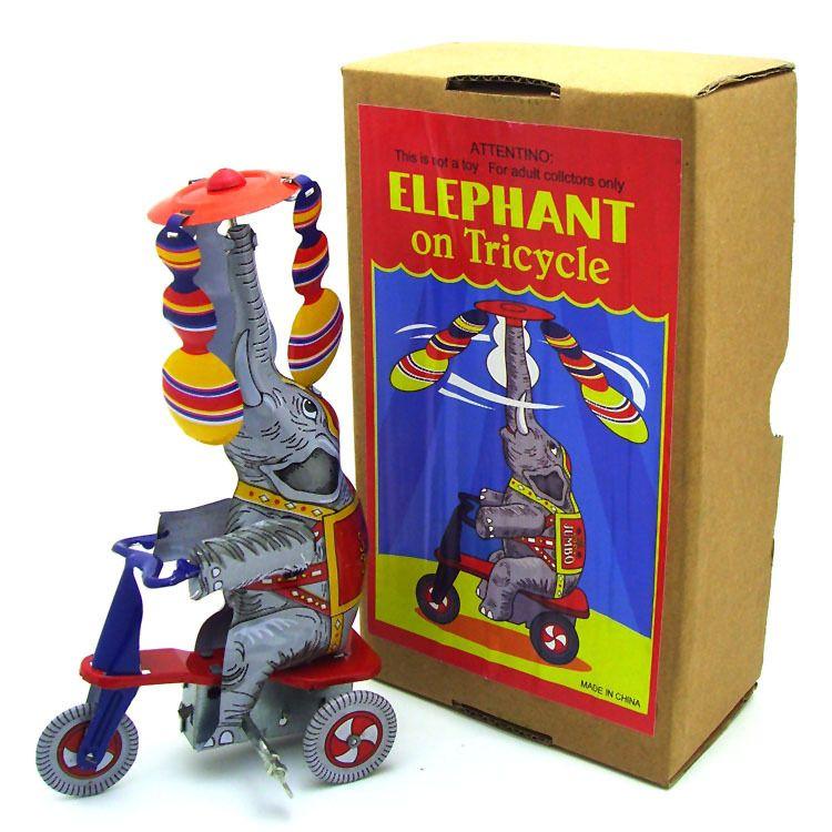 Kindheitserinnerung Antike Tier Blechspielzeug Kinder Wickeln Eisen Roboter Abbildung Retro Zakka Wohnkultur tintoy Elefant Fahrt Dreirad