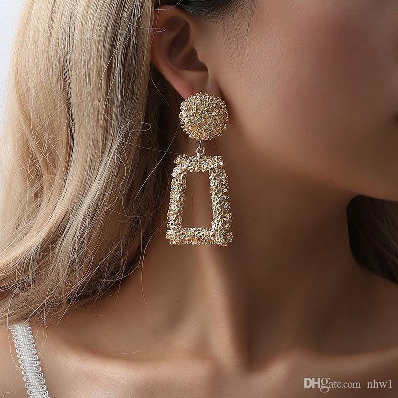 Grandi orecchini vintage per donne oro argento nero orecchino geometrico dichiarazione orecchino di metallo appeso gioielli regalo di moda