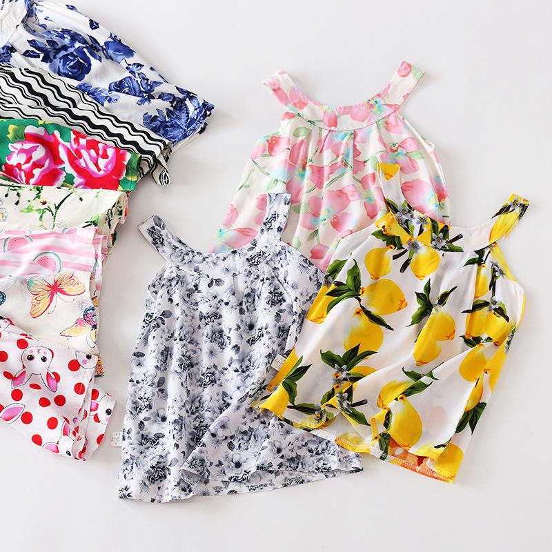 Toddler Floral Dresses Baby Girl clothe Newborn Cotton Summer Sleeveless Clothing Round Neck princess dress Mix Design 4pcs Per Lot