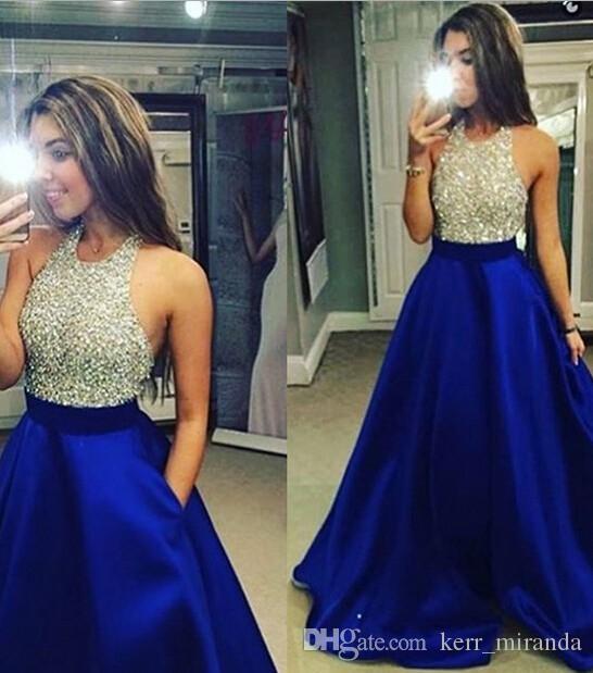2020 nuovo arrivo blu con argento cristallo si veste da sposa Perline Ultimo Piano Lunghezza su ordine degli abiti di sera più i vestiti da paryt