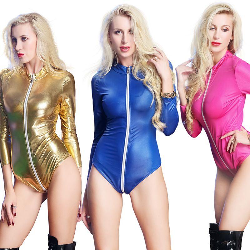 Sexy Kobiety Długie Rękawy PU Latex Catsuit Faux Leather Bodysuit Krocza Zipper Kobiety Kombinezon Kostiumy Gra Mundury