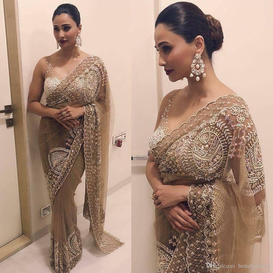 Großhandel Vestido De Noiva Saree Abendkleider 9 Arabisch Indische  Chiffon Applique Abendkleider Eine Schulter Prom Party Kleider Neu Von
