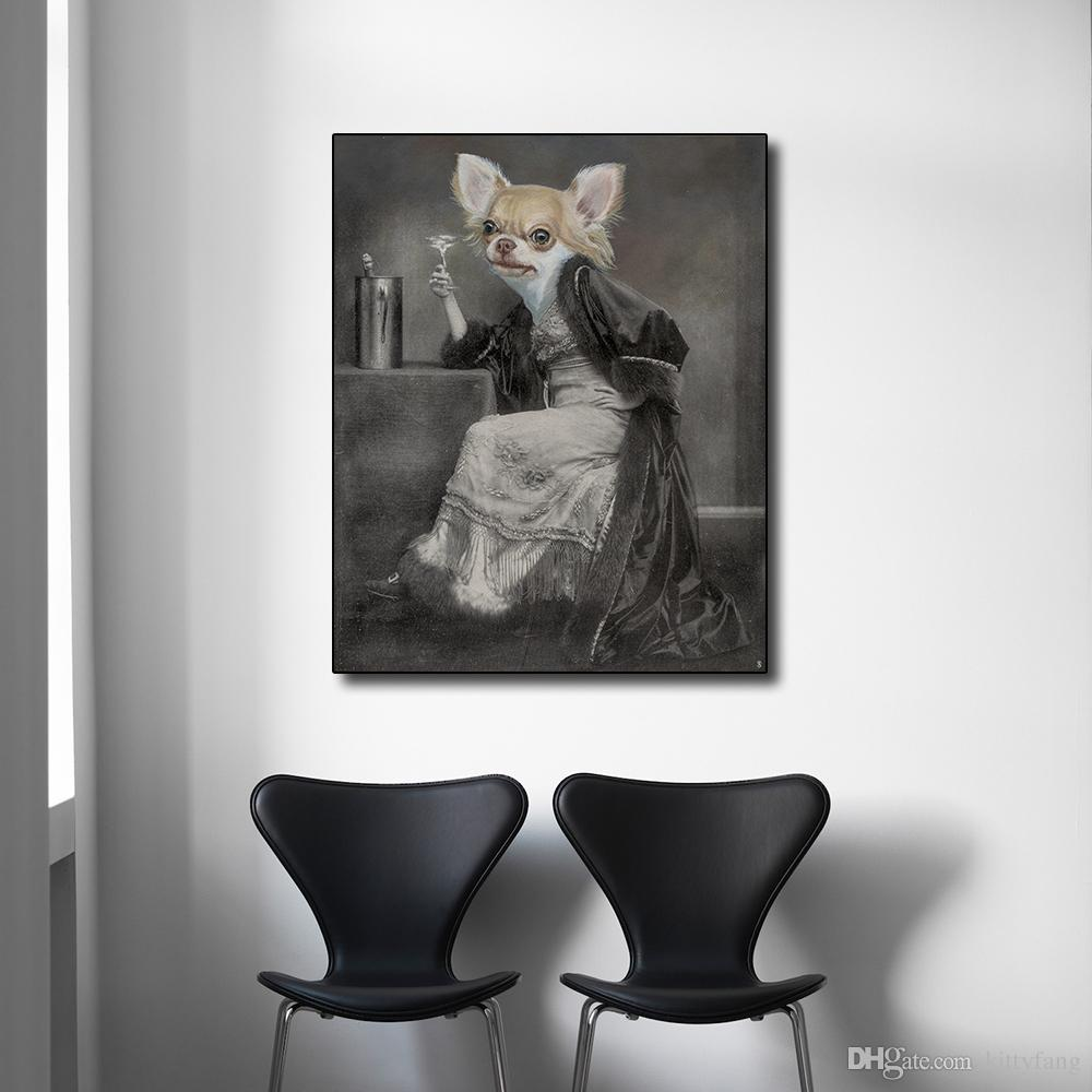1 Panel Dog Head Woman Holding A Wine Glass Printing on Canvas Wall Art Poster and Print for Living Room Decoration No Frame
