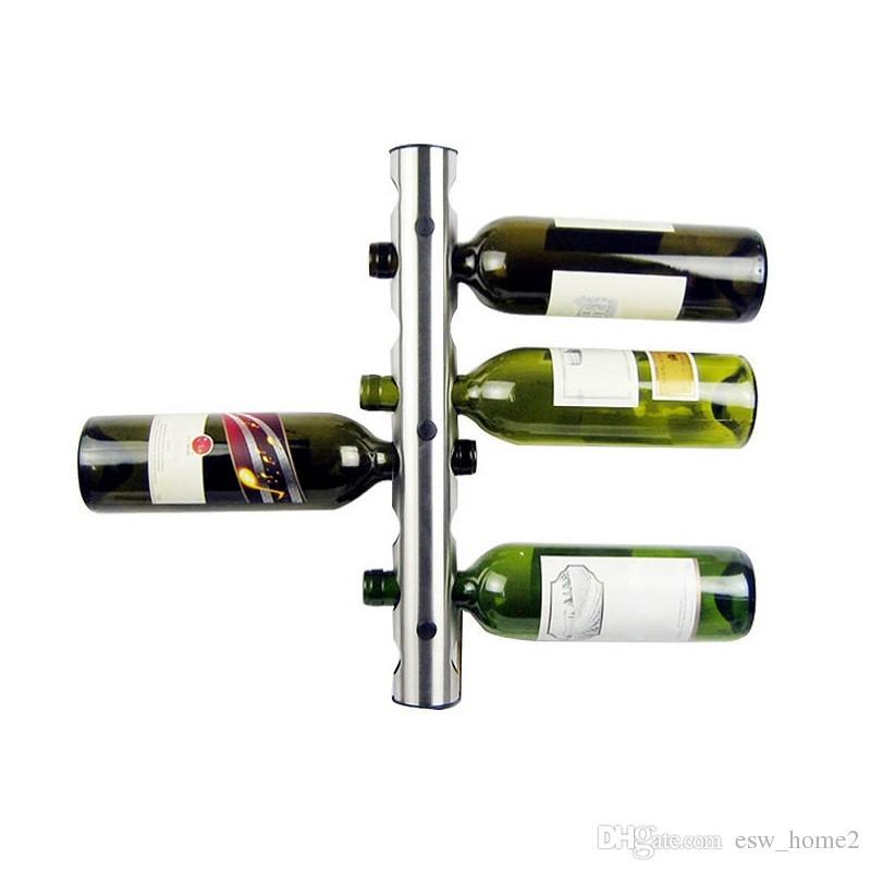 Paslanmaz Çelik Bar Şarap Rafı Şarap Raf Duvar Monteli Tutucu 8 Bollles 12 Şişeler Ev Bar Şarap Organizatör Standı Barware