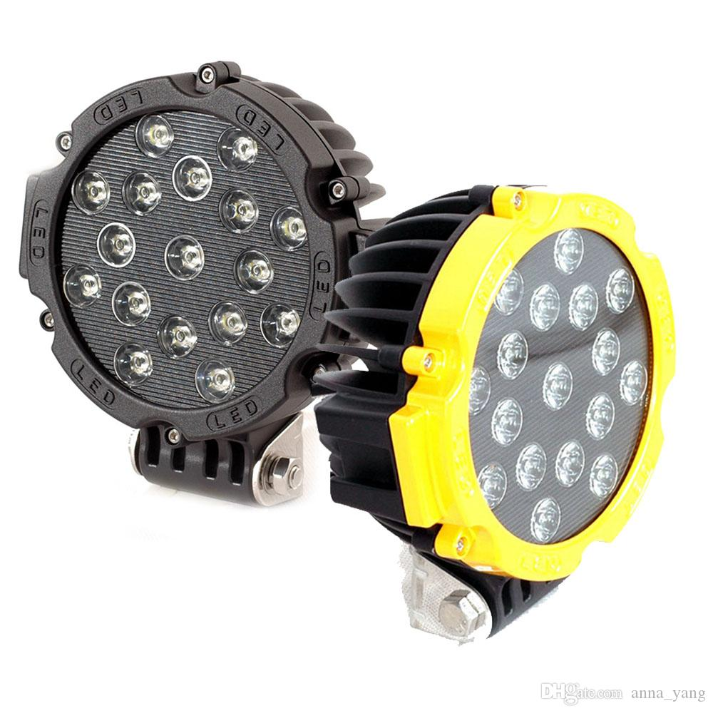 2pcs Red Balck Yellow 7 inch 51W Round LED Work Light For Lada 4x4 Offroad Truck Tractor ATV SUV 6000k Driving auto lamp