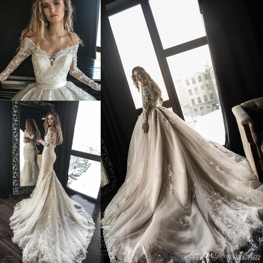 2019 Abiti da sposa a linea di lusso con treno rimovibile arabo dubai fuori dalla spalla maniche lunghe pizzo abiti da sposa da sposa BA9641