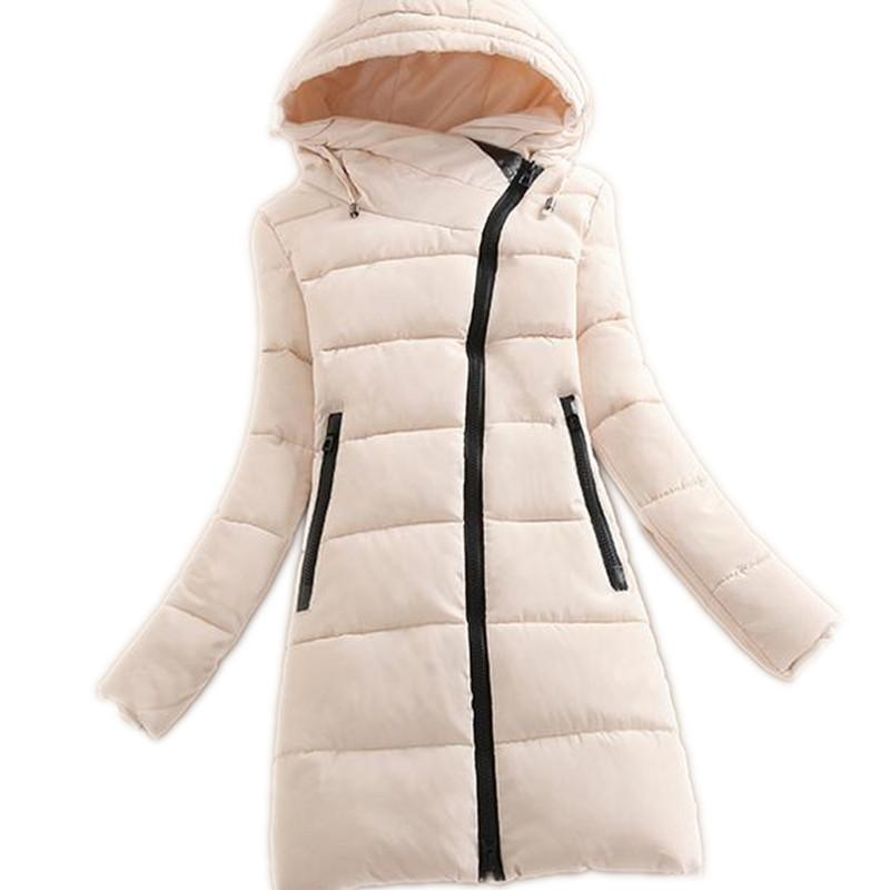 2018 Mode Oblique Zipper D'hiver Femmes Vers Le Bas Veste En Coton Parka Femme À Capuche Moyen-Long Mince Épaissir Coton Simple ManteauCQ293 S18101102