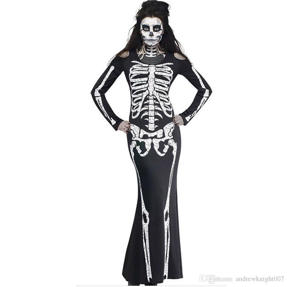 Новое прибытие женская женская тема костюм Хэллоуин скелет череп и кости печати Bodycon с длинным рукавом косплей платье туника DK5560HY